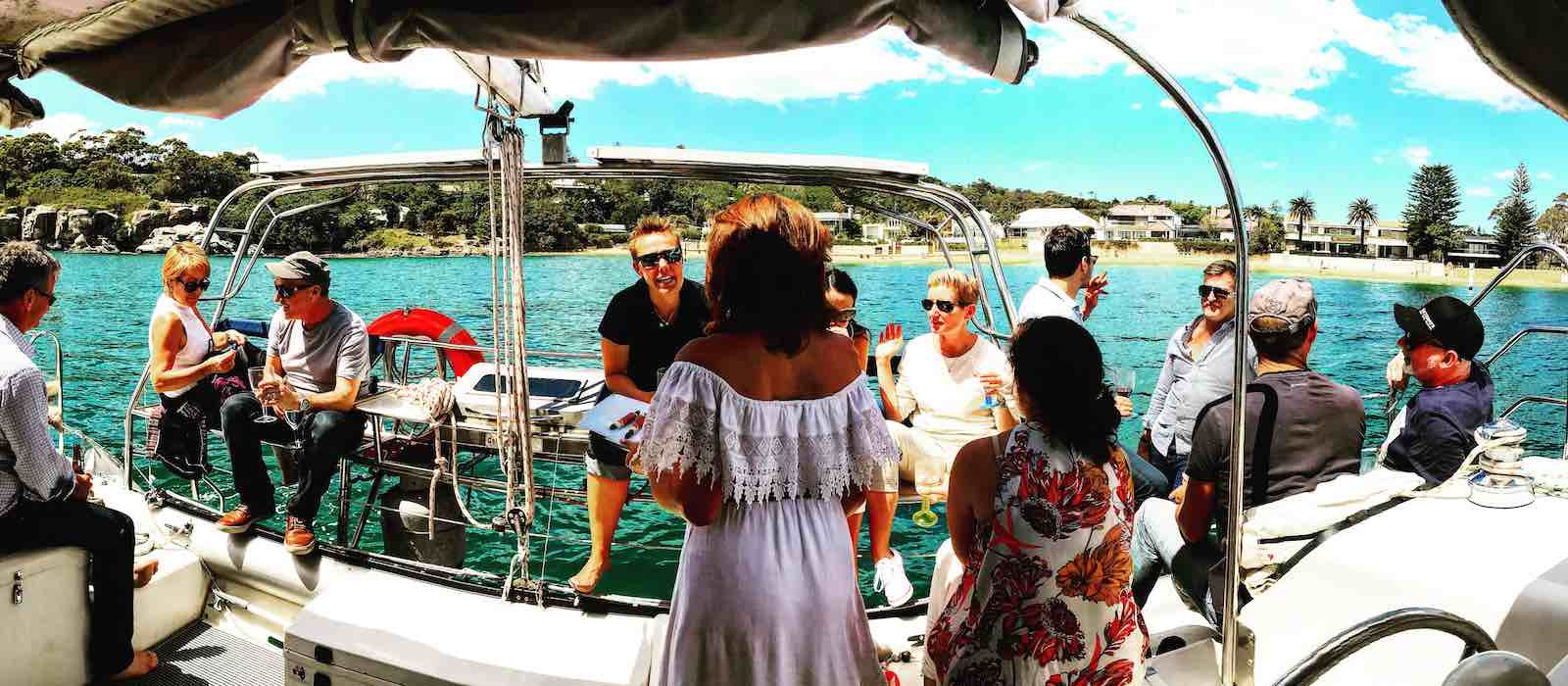 Party on aft deck of Skippered yacht charter on Seawind 1000